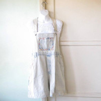 Super Faded Denim Patchwork Romper/Coverall; Women's Large Vintage Short Denim Overall w/ Ditsy Print Trim; Country/Prairie/Grunge