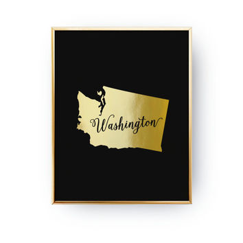 USA State Poster, Washington State Map, Real Gold Foil Print, Washington Print, Washington State Print, Gold USA State,Washington Silhouette