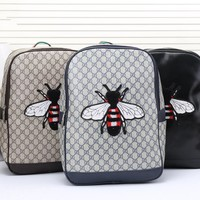 """Gucci"" Men Casual Fashion Classic Print  Bee Embroidery Backpack Large Capacity Travel Double Shoulder Bag"