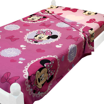 10 Disney Minnie Mouse Twin Bed Size Sheets Cameo Hearts Bedding Accessories
