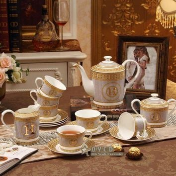 ICIKFS2 Porcelain coffee set bone china 'H' mark mosaic design outline in gold 15pcs European tea set coffee pot coffee jug saucer set
