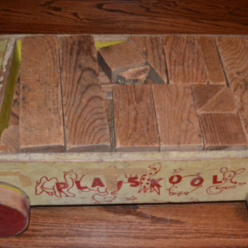 1940's Vintage Wooden Blocks,  Vintage Playskool Wood Blocks with Wagon, Vintage Building Block Set, Childs Toy