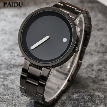 2017 Unique Gift Cool Minimalist Style Wristwatch Stainless Steel Creative Design Dot and Line Simple Quartz Fashion Men Watches