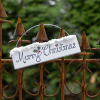 Miniature Christmas Fairy Garden Sign Merry Christmas for terrarium or miniature garden Hanging or On an Aluminum wire stake