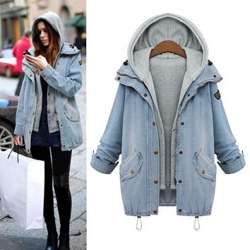 Autumn Winter Water Washed Denim Jacket Womens Girls Hooded Vest Two Piece
