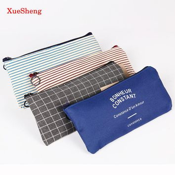 2PCS Brief Style Grid Stripes Canvas Pencil Bag Stationery Storage Pencil Case School Gift Stationery Supply