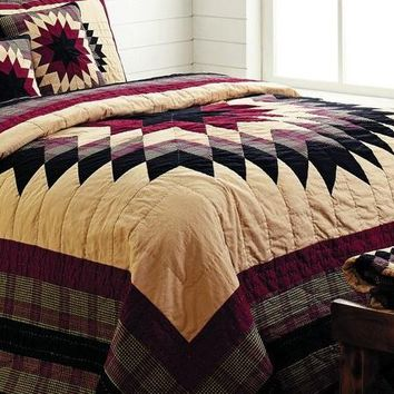 CHELSEA Queen Quilt Feathered Star Red/Tan Primitive Plaid Solid Check Cabin