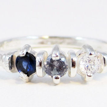 Sapphire, Aquamarine, and CZ Ring Sterling Silver, Mother's Ring, Sterling Silver Mother's Ring, Three Stone Ring
