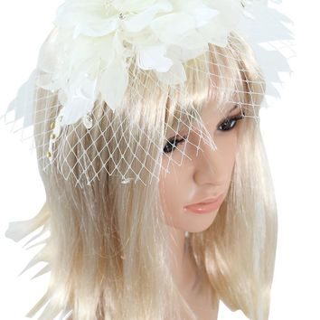 Victorian Vintage Bridal Flower White Feather Lace Net Fascinator with Pearl Headband