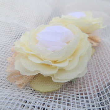 Brooch Flower accessories White and ivory Flower brooch Silk flower Clip for hair  Accessories women Wedding Cream flowers Vintage flower