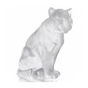 Lalique Clear Crystal Sculpture Animal Figurine SITTING TIGER Figure #10058000
