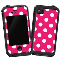 """White Polka Dot on Raspberry """"Protective Decal Skin"""" for LifeProof iPhone 4/4s Case"""