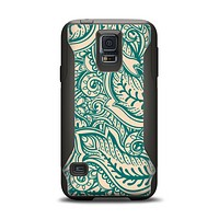 The Delicate Green & Tan Floral Lace Samsung Galaxy S5 Otterbox Commuter Case Skin Set