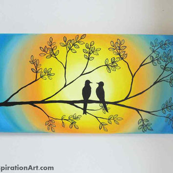 Love Birds In Tree Abstract Acrylic Painting on Canvas - Abstract Tree Painting Yellow and Blue Artwork - Romantic Art - Whimsical Wall Art