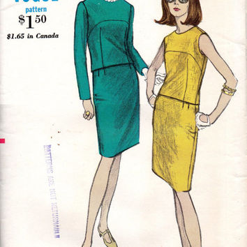 Retro 60s Mad Men Style Vogue 6873 Sewing Pattern Basic Slim Fit Skirt Back Button Overblouse Sleeveless Top Shirt Business Casual Bust 34