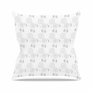 "Petit Griffin ""Dream Catchers Gray"" Gray White Outdoor Throw Pillow"