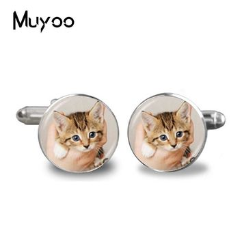 2017 Fashion Handmade Cufflink cute Small  glass cabochon animal Personality Animal charms Occult High Quality Cufflinks jewelry