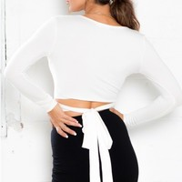 Cover Up crop top in white