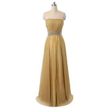 Chiffon A Line Strapless Sleeveless Beads Long Prom Dresses Backless Floor Length Prom Dress
