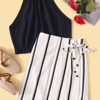Solid Top With Striped Skirt