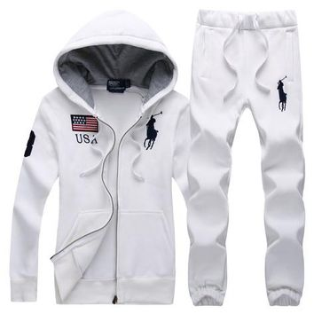 Polo Ralph Lauren autumn and winter new trend embroidery logo women's cardigan loose sportswear two-piece White