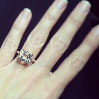 5.75 Ct. Brilliant Round Cut Morganite Solitaire Engagement Ring on 14K Rose Gold with Diamonds