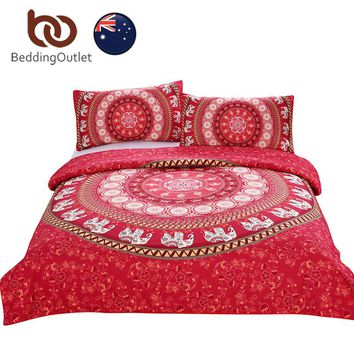 BeddingOutlet Red Mandala Bedding Set Home Elephant Messenger Indian Bed Linen Soft Moroccan Duvet Cover 3Pcs AU SIZE