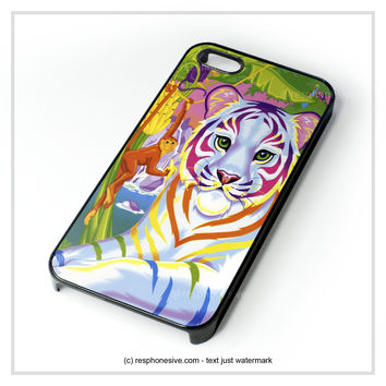 Lisa Frank Neon Tiger And Monkey 90'S iPhone 4 4S 5 5S 5C 6 6 Plus , iPod 4 5  , Samsung Galaxy S3 S4 S5 Note 3 Note 4 , and HTC One X M7 M8 Case