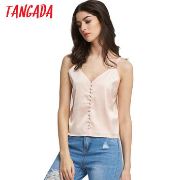 women tank top sexy Satin Look Silk Tanks Strappy backless girls camisole Beach short crop tops 2017 Pink camis 5D6