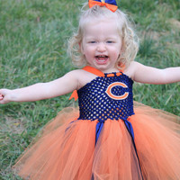 Chicago bears inspired tutu dress and matching bow size nb 3m 6m 9m 12m 18m 24m 2T