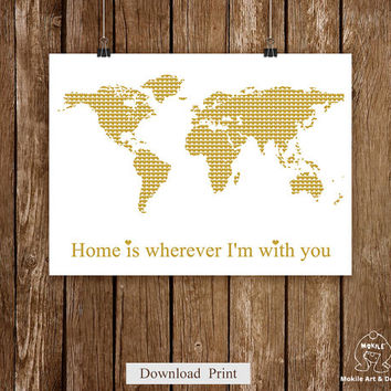 Printable Wall Art,Instant Download World map art print,Love gold world map,11x8.5,Home poster,printable spring,gold and white art