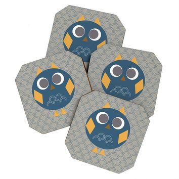 Vy La Geo Owl Solo Blue Coaster Set