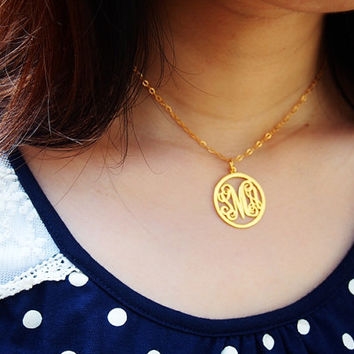 circle monogram necklace for mom women 1 inch 3 initial Personalized necklace, Monogram necklace, name monogrammed custom Monogram necklace