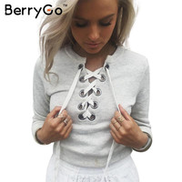BerryGo Gray lace up ladies sweatshirt women Autumn crop top long sleeve girl v neck hoodies sweatshirt warm casual female tops