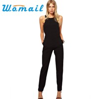 New 2015 summer sexy women Jumpsuit Romper lady Sleeveless bodysuit playsuit womens Black Trousers long pants in womens clothes