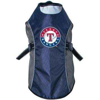 auguau Texas Rangers Water Resistant Reflective Pet Jacket