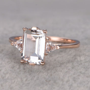 6x9mm Emerald Cut White Topaz Engagement Ring Trillion Cut Topazs Wedding Ring 14K Yellow Gold