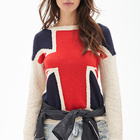 FOREVER 21 Marled Union Jack Sweater Taupe/Red