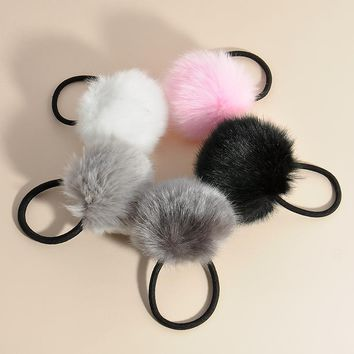 Fashion Man-made Rabbit Fur Ball rubber band Hair Clips Hairpins Hairwear Accessories For Women Girl Fashion Jewelry