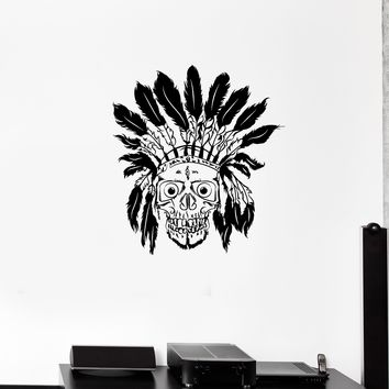 Wall Decal Skull Skeleton Native American Aborigine Vinyl Sticker Unique Gift (ed762)