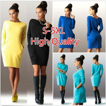 Large Size New Temperament Slim Package Hip Dress Long Sleeved Dress [8833468876]
