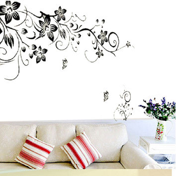90*60cm Flower Butterfly Stickers Removable Diy Vinyl Quote Wall Sticker Poster Home decoration