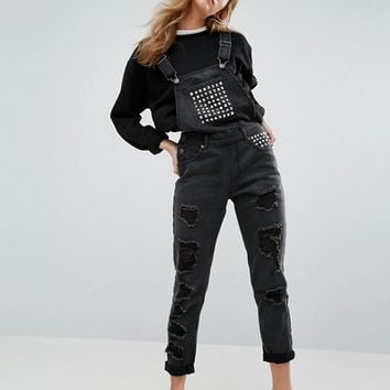 Liquor & Poker Relaxed Fit Studded Dungaree at asos.com