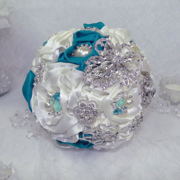 Brooch Bouquet and Boutonniere Teal Blue and White Satin Flowers Ready to Ship Vintage Gatsby Not A Deposit In Stock