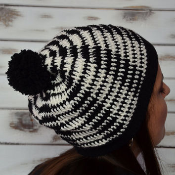 Womens winter hat, crochet beanie, slouchy pompon hat, black and white, crochet cap, gift for her, valentines gift