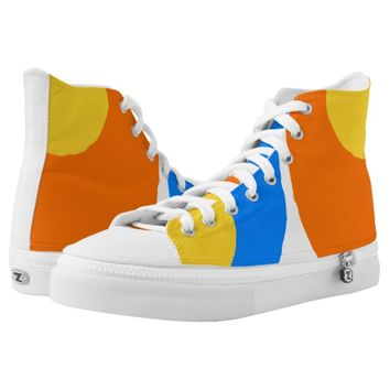 yellow,blue and orange design High-Top sneakers