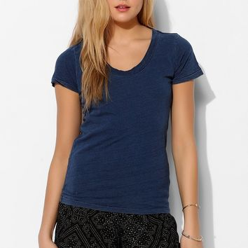 Colorfast Indigo Scoopneck Tee - Urban Outfitters