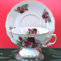 Laurel Tea Cups (Teacups) and Saucers Set of 2