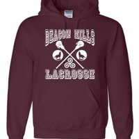 Small Maroon Adult Beacon Hills Lacrosse Sweatshirt Hoodie