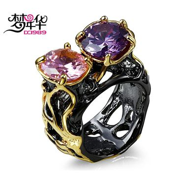 DreamCarnival 1989 Black Gold Color Rings for Women Big CZ Solitaire Jewelry Vintage European Spanish Designs Anillos Mujer Anel